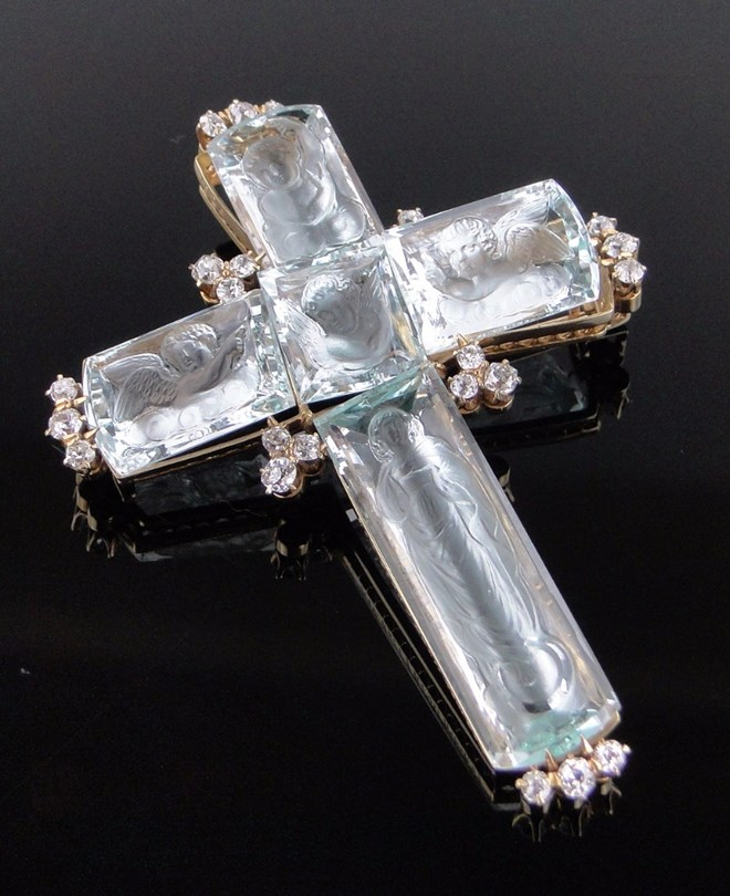 Stunning Tiffany Gold and Aquamarine Cross! Image